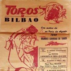 Carteles Toros: 1969 CARTEL TOROS SEDA DE BILBAO DEL 17 AL 24 AGOSTO 1969 MED 25X50 CTM. Lote 127694715