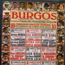 Carteles Toros: 1999 CARTEL PLAZA TOROS DE BURGOS JULIO 1999 MED 50X70 CTM. Lote 127695419
