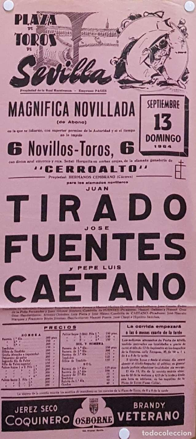 1964 CARTEL PLAZA TOROS DE SEVILLA 13 SEPTIEMBRE 1964 MED 20X45 CTM (Coleccionismo - Carteles Gran Formato - Carteles Toros)