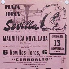 Carteles Toros: 1964 CARTEL PLAZA TOROS DE SEVILLA 13 SEPTIEMBRE 1964 MED 20X45 CTM. Lote 127691416