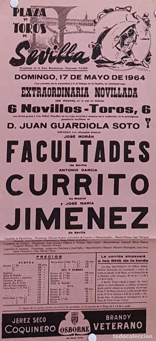 1964 CARTEL PLAZA TOROS DE SEVILLA 17 MAYO 1964 MED 20X45 CTM (Coleccionismo - Carteles Gran Formato - Carteles Toros)