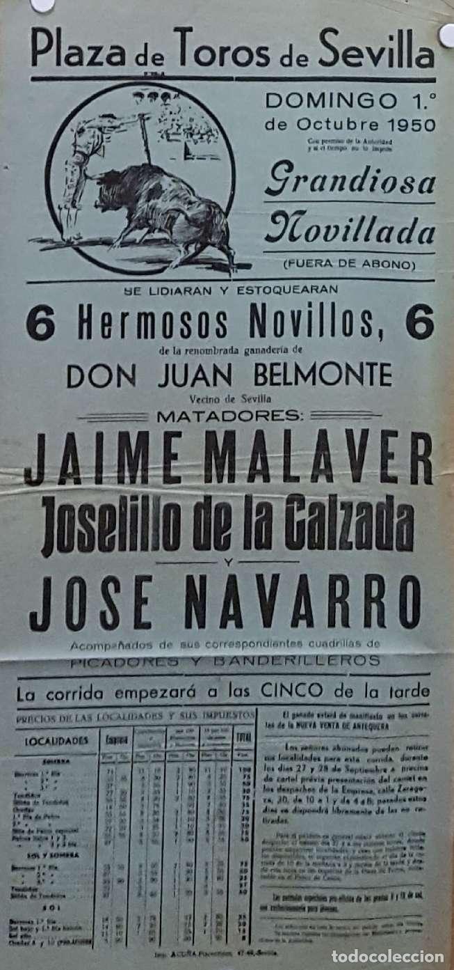 1950 CARTEL PLAZA TOROS DE SEVILLA 1 OCTUBRE 1950 MED 20X45 CTM (Coleccionismo - Carteles Gran Formato - Carteles Toros)