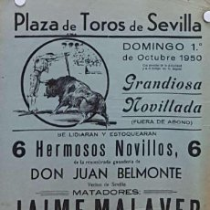 Carteles Toros: 1950 CARTEL PLAZA TOROS DE SEVILLA 1 OCTUBRE 1950 MED 20X45 CTM. Lote 127691424