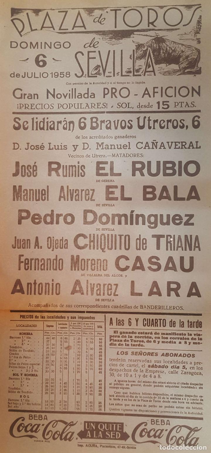1958 CARTEL PLAZA TOROS DE SEVILLA 6 JULIO 1958 MED 20X45 CTM (Coleccionismo - Carteles Gran Formato - Carteles Toros)