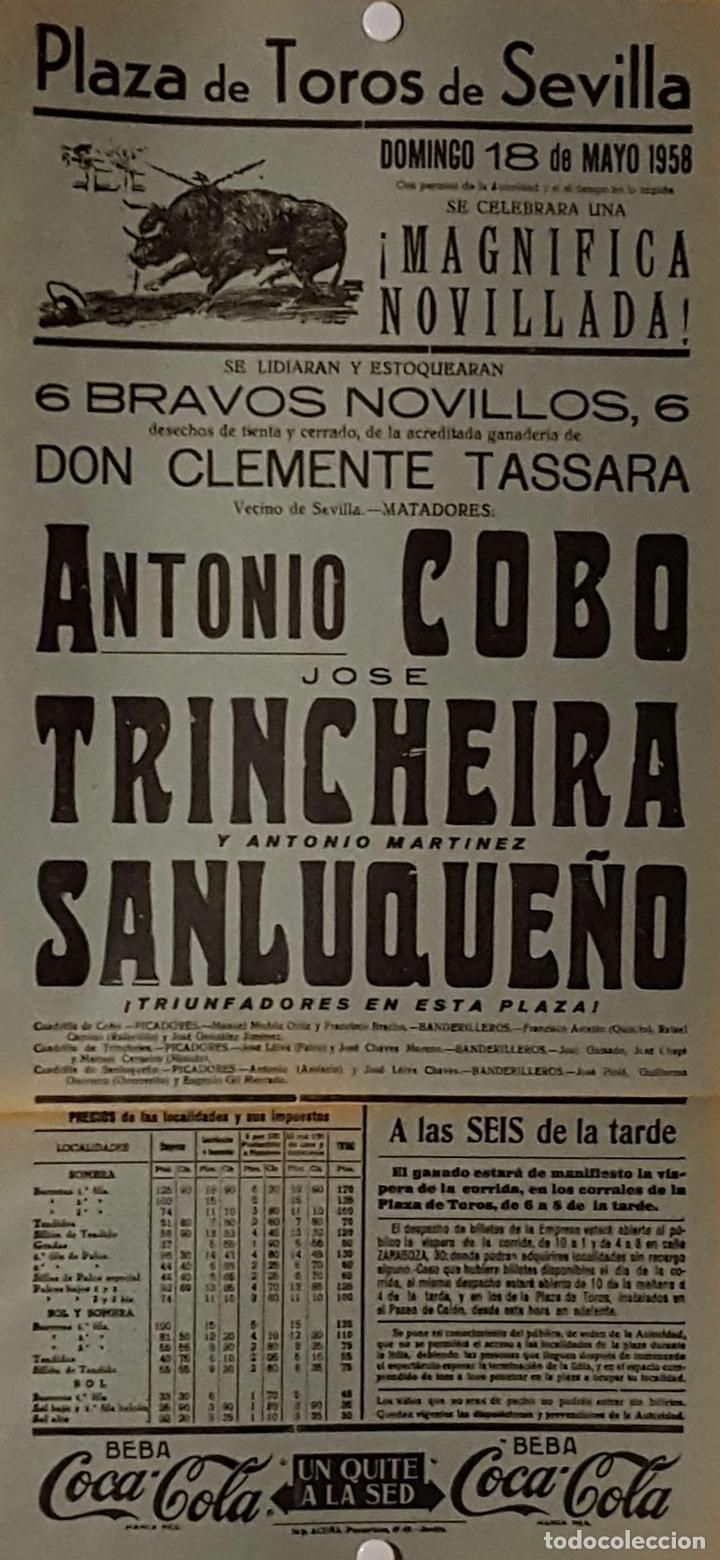 1958 CARTEL PLAZA TOROS DE SEVILLA 18 MAYO 1958 MED 20X45 CTM (Coleccionismo - Carteles Gran Formato - Carteles Toros)