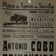Carteles Toros: 1958 CARTEL PLAZA TOROS DE SEVILLA 18 MAYO 1958 MED 20X45 CTM. Lote 127691456