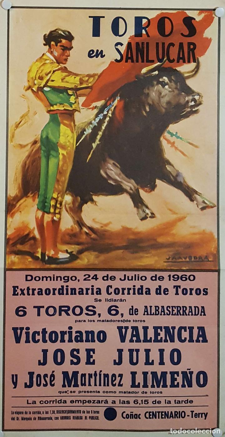 1960 CARTEL PLAZA TOROS DE SANLUCAR DE BDA 24 JULIO 1960 MED 24 X 45 CTM (Coleccionismo - Carteles Gran Formato - Carteles Toros)