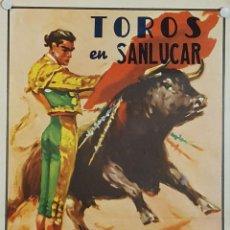 Carteles Toros: 1960 CARTEL PLAZA TOROS DE SANLUCAR DE BDA 24 JULIO 1960 MED 24 X 45 CTM. Lote 127691796