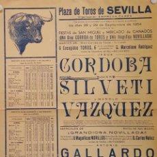 Carteles Toros: 1954 CARTEL PLAZA TOROS DE SEVILLA 28 Y 29 SEPT 1954 MED 32 X 45 CTM. Lote 127692059
