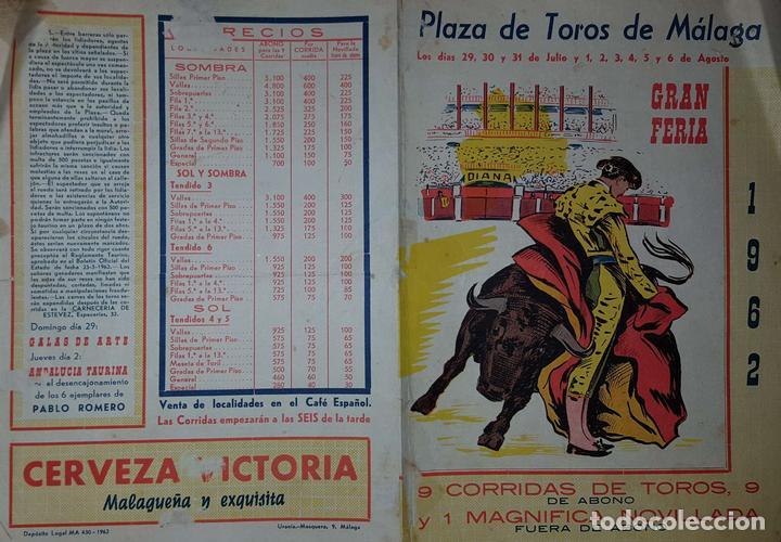 1962 Folleto De Mano Plaza Toros De Malaga Del Kaufen Alte Plakate