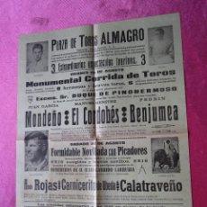 Carteles Toros: CARTEL DE TOROS EL CORDOBES MONDEÑO BENJUMEA 1967 PLAZA DE ALMAGRO 32X 44 1967. Lote 130482166