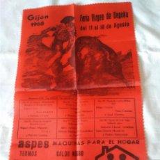 Carteles Toros: 77-RARO CARTEL TAURINO FERIA DE BEGOÑA GIJON, 1968, EN TELA. Lote 130810304