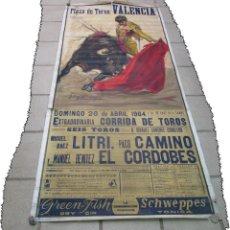 Carteles Toros: LOTE DE TRES CARTELES 1964 1965 VALENCIA GRAN TAMAÑO 235X112 - LITRI PACO CAMINO CORDOBES.... Lote 130920516