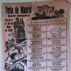 Carteles Toros: CARTEL DE TOROS FERIA SAN ISIDRO 1968 SEDA. Lote 79604521