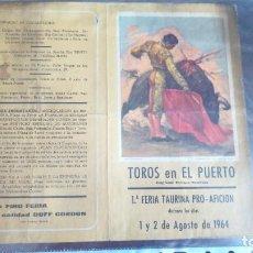 Carteles Toros: PROGRAMA TOROS EN EL PUERTO DE SANTA MARIA 1964. Lote 131917558