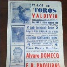 Affiches Tauromachie: CARTEL TOROS EN VALDIVIA 1984 ALVARO DOMECQ JULIO ROBLES . Lote 131917458