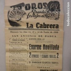 Carteles Toros: CARTEL PLAZA TOROS LA CABRERA 1955. Lote 131993434