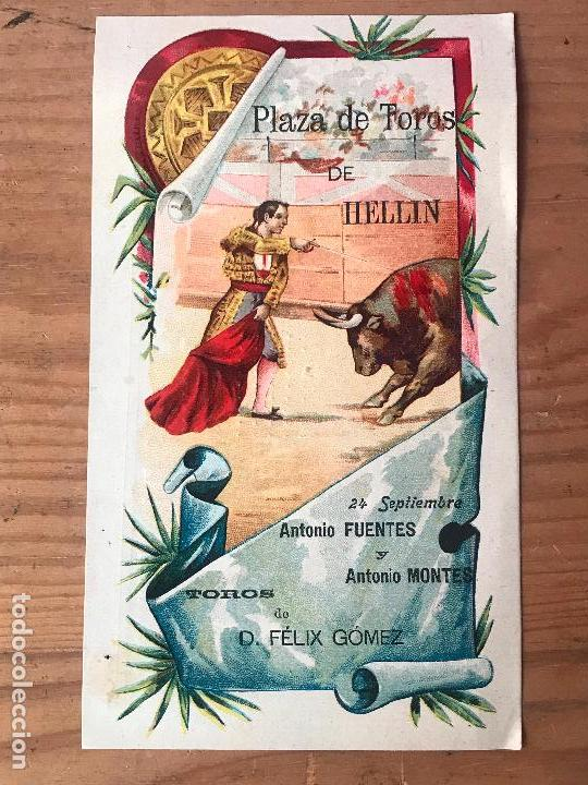 PROGRAMA DE TOROS - PLAZA DE TOROS DE HELLIN - ANTONIO FUENTES Y ANTONIO MONTES 1903 (Coleccionismo - Carteles Gran Formato - Carteles Toros)