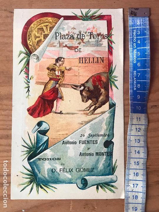 Carteles Toros: Programa de toros - plaza de toros de Hellin - Antonio Fuentes y Antonio Montes 1903 - Foto 2 - 132182870