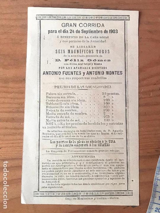 Carteles Toros: Programa de toros - plaza de toros de Hellin - Antonio Fuentes y Antonio Montes 1903 - Foto 3 - 132182870