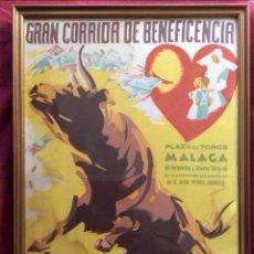 Carteles Toros: CARTEL DE TOROS EN SEDA ,PLAZA MÁLAGA AÑO 59.DOMINGUÍN Y ORDOÑEZ-RARÍSIMO. Lote 132521654