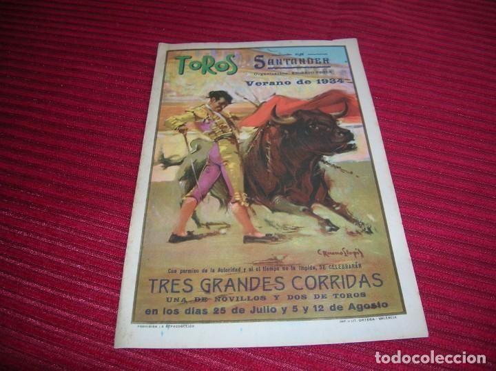 ANTIGUO PROGRAMA DE TOROS. SANTANDER, VERANO DE 1934 (Coleccionismo - Carteles Gran Formato - Carteles Toros)