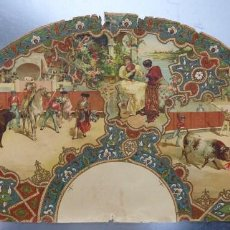 Carteles Toros: PRECIOSO DIBUJO PARA ABANICO CON MOTIVO TAURINO - AÑOS 1900-1910. Lote 132558678