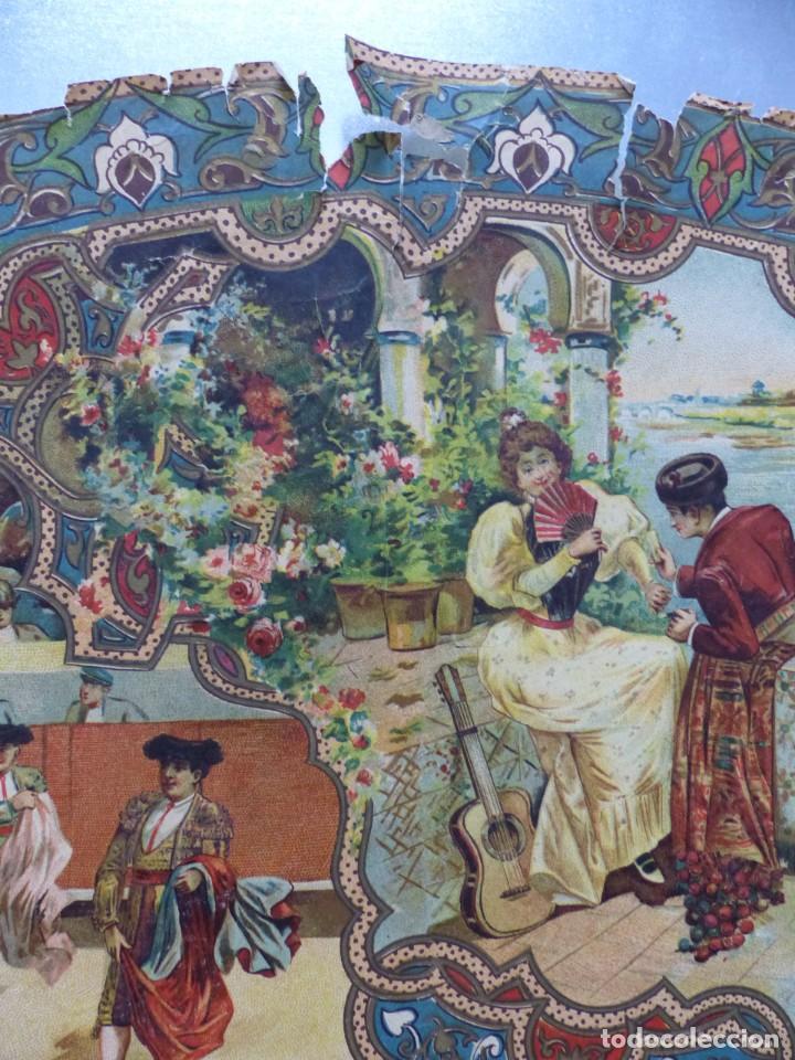 Carteles Toros: PRECIOSO DIBUJO PARA ABANICO CON MOTIVO TAURINO - AÑOS 1900-1910 - Foto 4 - 132558678