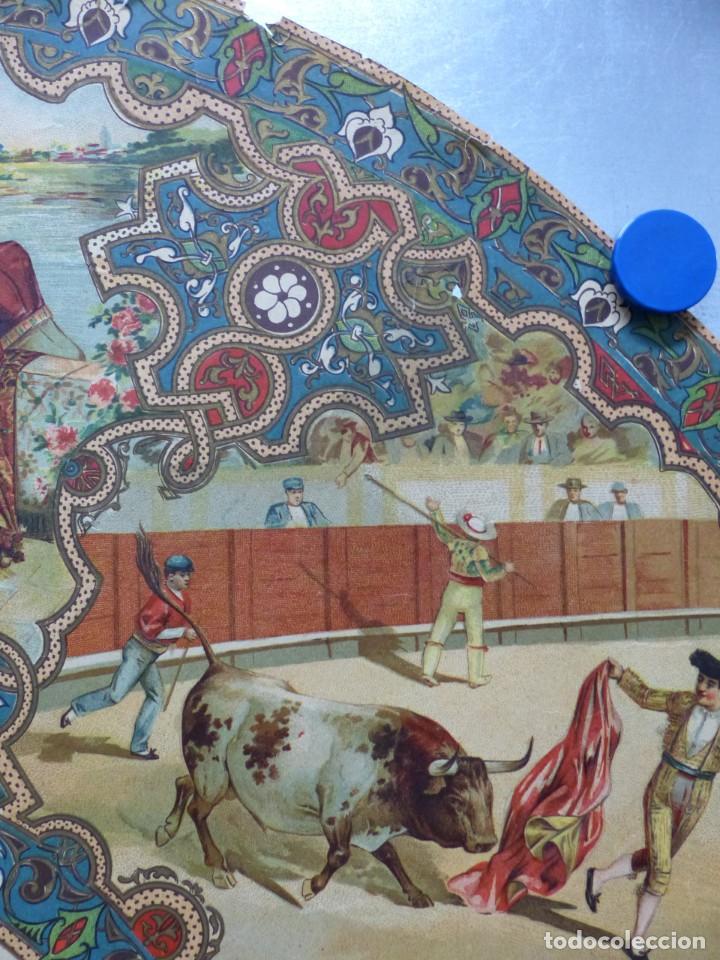 Carteles Toros: PRECIOSO DIBUJO PARA ABANICO CON MOTIVO TAURINO - AÑOS 1900-1910 - Foto 6 - 132558678