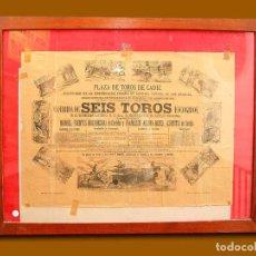 Carteles Toros: 1881 CARTEL PLAZA TOROS DE CADIZ 7 AGOSTO 1881 MED 43X63 CTM. Lote 132584122