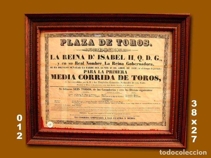 1840 CARTEL PLAZA TOROS DE MADRID 27 ABRIL 1840 MED 38X27 CTM (Coleccionismo - Carteles Gran Formato - Carteles Toros)