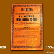 Carteles Toros: 1852 CARTEL PLAZA TOROS DE MADRID 24 MAYO 1852 MED 133X93 CTM. Lote 132584166