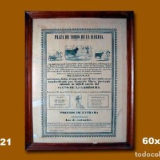 Carteles Toros: 1853 CARTEL PLAZA TOROS DE LA HABANA 12 JUNIO 1853 MED 60X39 CTM. Lote 132584170