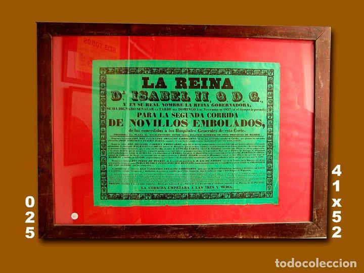 1857 CARTEL PLAZA TOROS DE MADRID 5 NOVIEMBRE 1857 MED 41X52 CTM (Coleccionismo - Carteles Gran Formato - Carteles Toros)