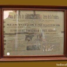 Carteles Toros: 1881 CARTEL PLAZA TOROS DE JEREZ DE LA FRA 29 ABRIL 1881 MED 30X41 CTM. Lote 132584214