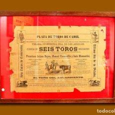 Carteles Toros: 1883 CARTEL PLAZA TOROS DE CADIZ 15 AGOSTO 1883 MED 43X63 CTM. Lote 132584218
