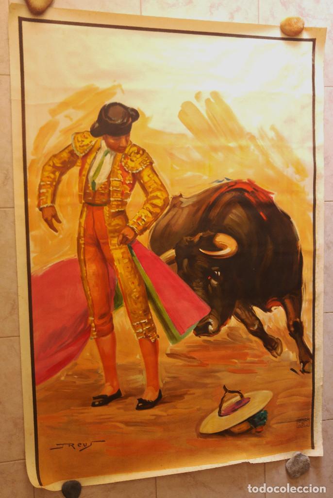 PRECIOSO CARTEL DE TOROS PASE TORERO - ILUSTRADOR J. REUS. AÑOS 50. LITOGRAFICO IMPRENTA ORTEGA (Coleccionismo - Carteles Gran Formato - Carteles Toros)