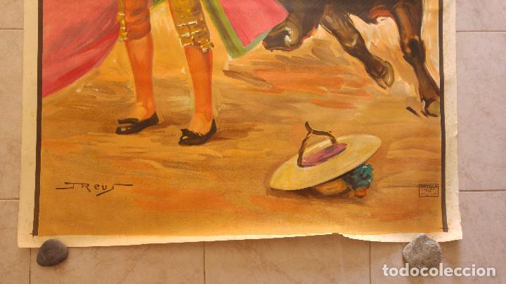Carteles Toros: PRECIOSO CARTEL DE TOROS PASE TORERO - ILUSTRADOR J. REUS. AÑOS 50. LITOGRAFICO IMPRENTA ORTEGA - Foto 4 - 132585330