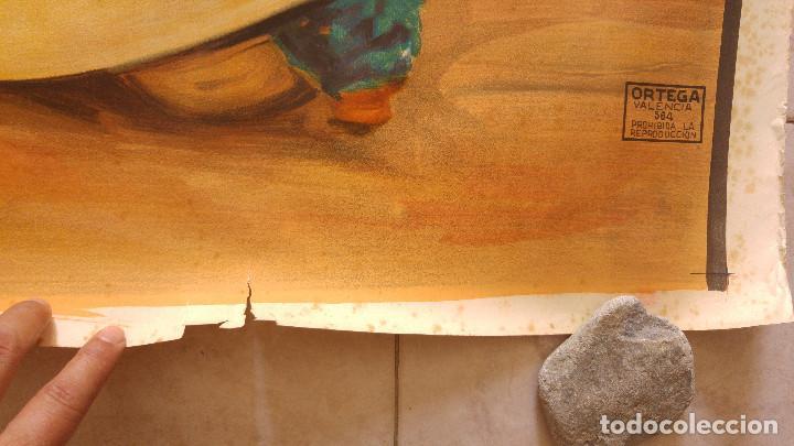 Carteles Toros: PRECIOSO CARTEL DE TOROS PASE TORERO - ILUSTRADOR J. REUS. AÑOS 50. LITOGRAFICO IMPRENTA ORTEGA - Foto 5 - 132585330