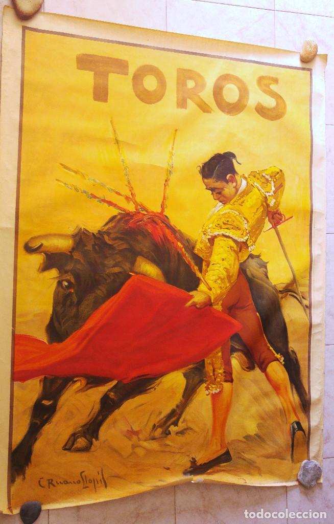 PRECIOSO CARTEL DE TOROS PASE TORERO - ILUSTRADOR RUANO LLOPIS. AÑOS 50. LITOGRAFICO (Coleccionismo - Carteles Gran Formato - Carteles Toros)