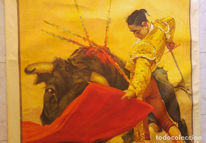 Carteles Toros: PRECIOSO CARTEL DE TOROS PASE TORERO - ILUSTRADOR RUANO LLOPIS. AÑOS 50. LITOGRAFICO - Foto 3 - 132585722