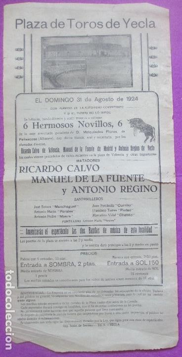 CARTEL TOROS, PLAZA YECLA, MURCIA, 1924, RICARDO CALVO, MANUEL DE LA FUENTE, ANTONIO REGINO, CT324 (Coleccionismo - Carteles Gran Formato - Carteles Toros)