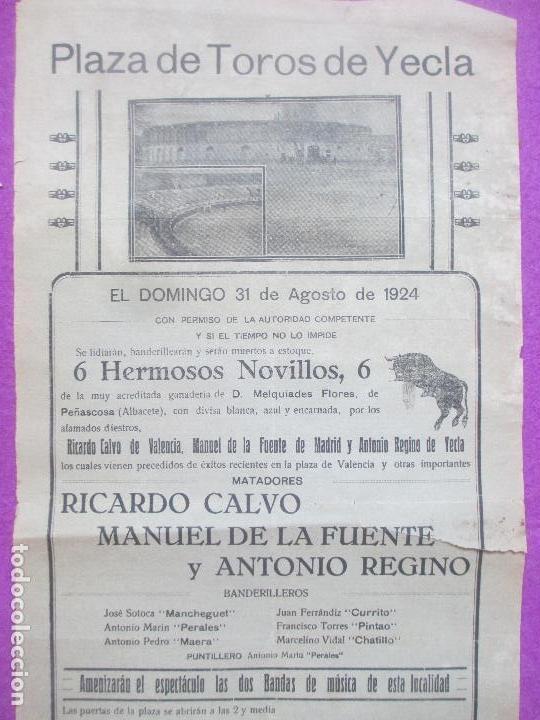 Carteles Toros: CARTEL TOROS, PLAZA YECLA, MURCIA, 1924, RICARDO CALVO, MANUEL DE LA FUENTE, ANTONIO REGINO, CT324 - Foto 2 - 132815806