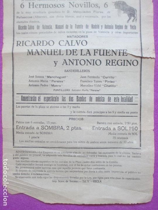 Carteles Toros: CARTEL TOROS, PLAZA YECLA, MURCIA, 1924, RICARDO CALVO, MANUEL DE LA FUENTE, ANTONIO REGINO, CT324 - Foto 3 - 132815806