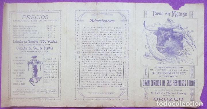 CARTEL TOROS, PLAZA MALAGA, 1914, RAFAEL GOMEZ GALLO, FRANCISCO MADRID, CT327 (Coleccionismo - Carteles Gran Formato - Carteles Toros)