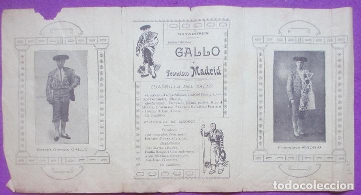 Carteles Toros: CARTEL TOROS, PLAZA MALAGA, 1914, RAFAEL GOMEZ GALLO, FRANCISCO MADRID, CT327 - Foto 2 - 132817338