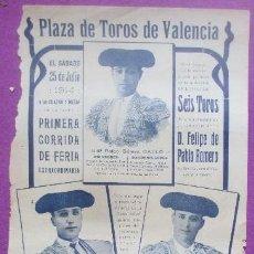 Carteles Toros: CARTEL TOROS, PLAZA VALENCIA, 1914, GALLO, FLORES Y MADRID, CT333. Lote 132821198
