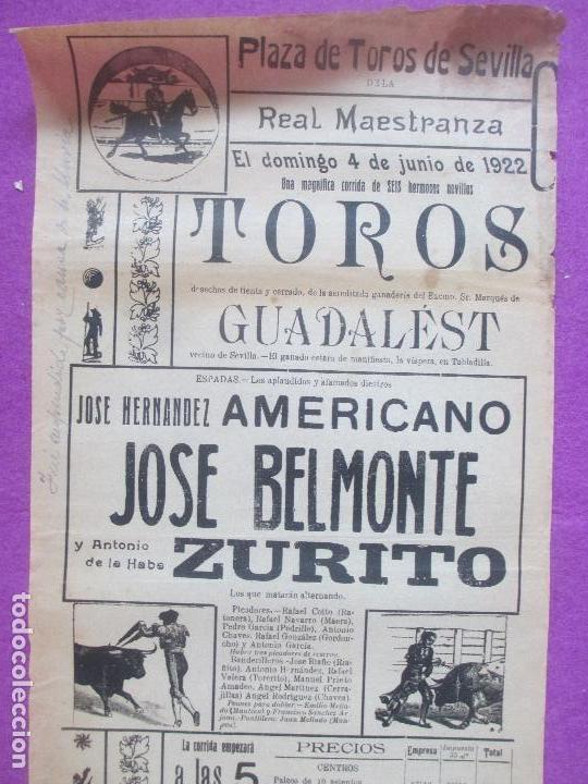 CARTEL TOROS, PLAZA SEVILLA, 1922, AMERICANO, JUAN BELMONTE Y ZURITO, CT362 (Coleccionismo - Carteles Gran Formato - Carteles Toros)