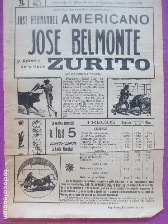 Carteles Toros: CARTEL TOROS, PLAZA SEVILLA, 1922, AMERICANO, JUAN BELMONTE Y ZURITO, CT362 - Foto 2 - 132829586