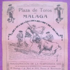 Carteles Toros: CARTEL TOROS, PLAZA MALAGA, 1915, TELLO, CARNICERITO, ANDALUZ, CT373. Lote 132849530